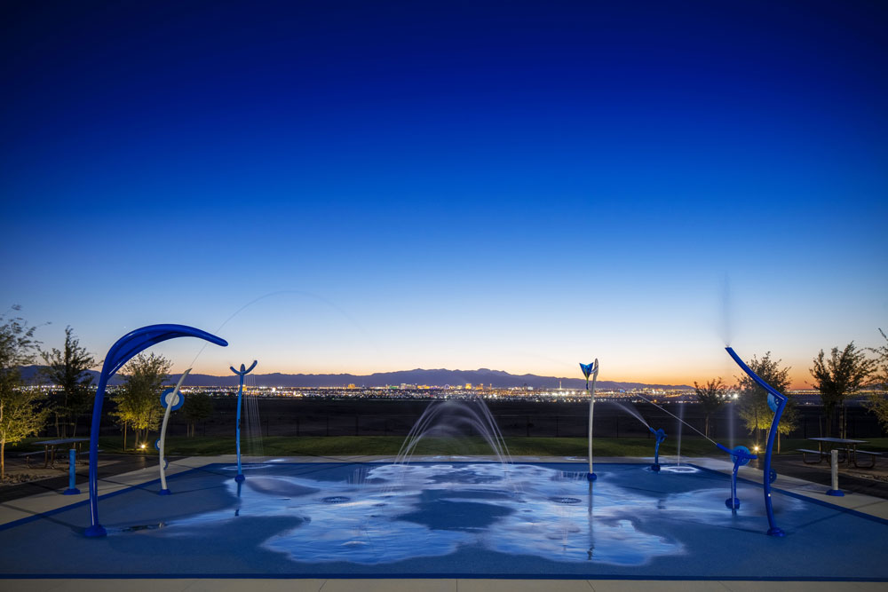 Night view of splash pad at Cadence in Henderson Nevada