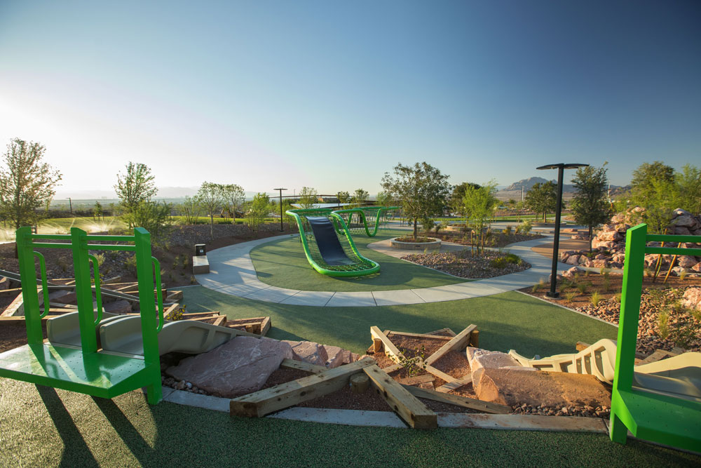 Wide angle photo of the Cadence Central park showing the playground area