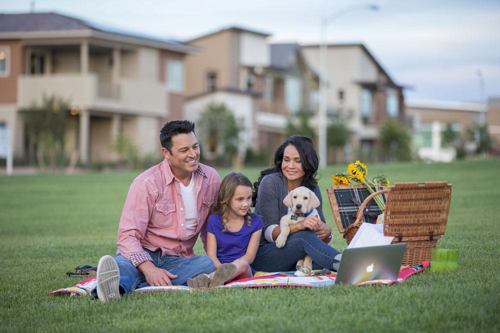 Family enjoying park near new home in Henderson